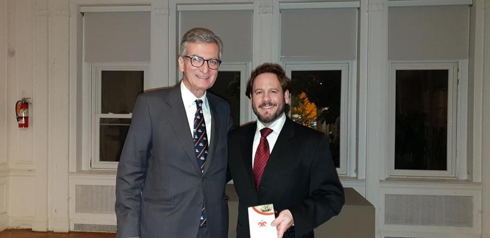 A la izquierdo el Excmo. Sr. Santiago Cabañas Ansorena, Embajador de España en Estados Unidos con Israel lozano